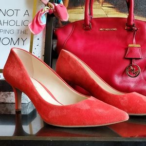 Enzo Angiolini strawberry red suede heels